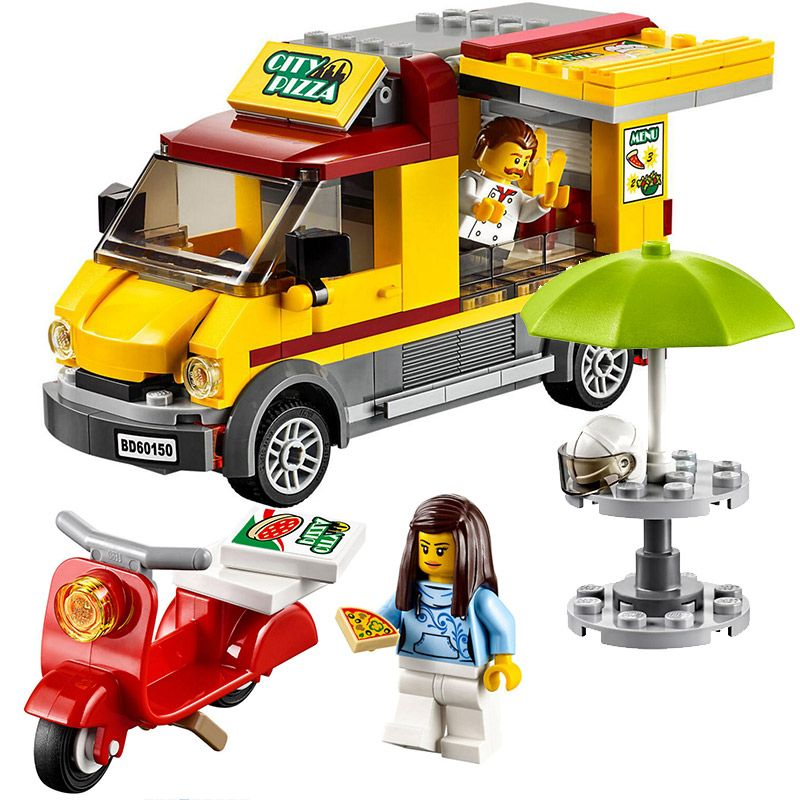 Bela 10648 City Series City Pizza Van Food Truck Figure Building Block Bricks Toys Gift Compatible With Legoings 60150