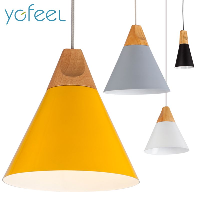[YGFEEL] Pendant Lights Dining Room Pendant Lamps Modern Colorful Restaurant Coffee Bedroom Lighting Iron+Solid Wood E27 Holder