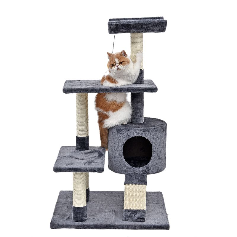 Neue Domestic Lieferung Luxus Katze Kratzbaum Haus Für Möbel Kätzchen Spielzeug Klettern Möbel mit Eine Schüssel Katze Hause Ball