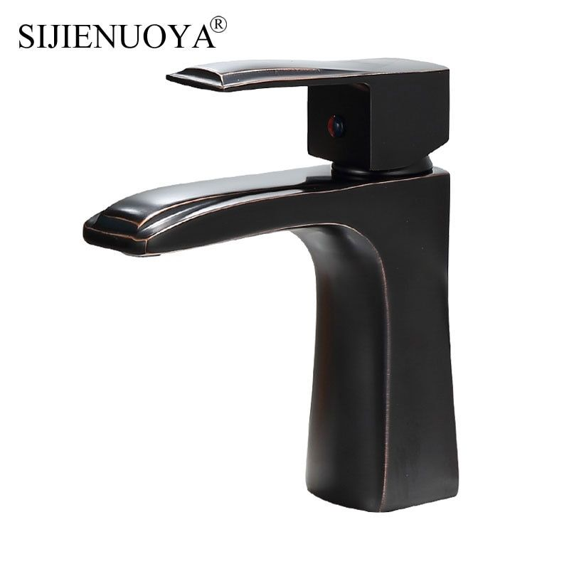 Bathroom Basin Faucet Black ancient Faucet Basin Sink Mixer Tap Deck Mounted Cold and Hot Bathrom Faucet Painting Finish tap