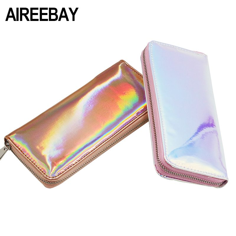 AIREEBAY Hologram Wallet Female Clutch Long Holographic Ladies Bag Girl With Zipper Coin Purse Card Id Holders Women Wallets