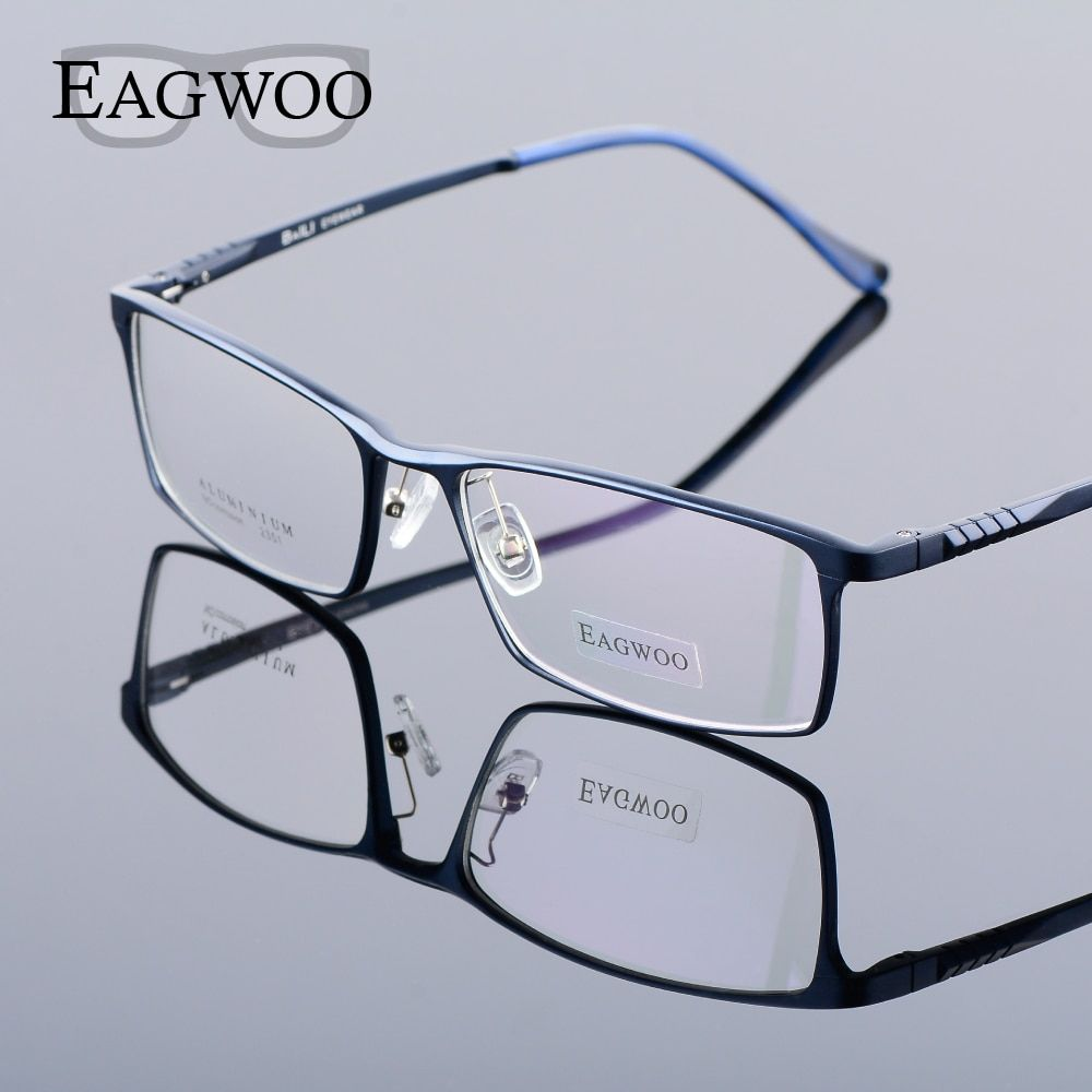 Eagwoo Aluminum Men Wide Face Prescription Eyeglasses Full Rim Optical Frame Business Eye Glasses Light Big Spectacle MF2351