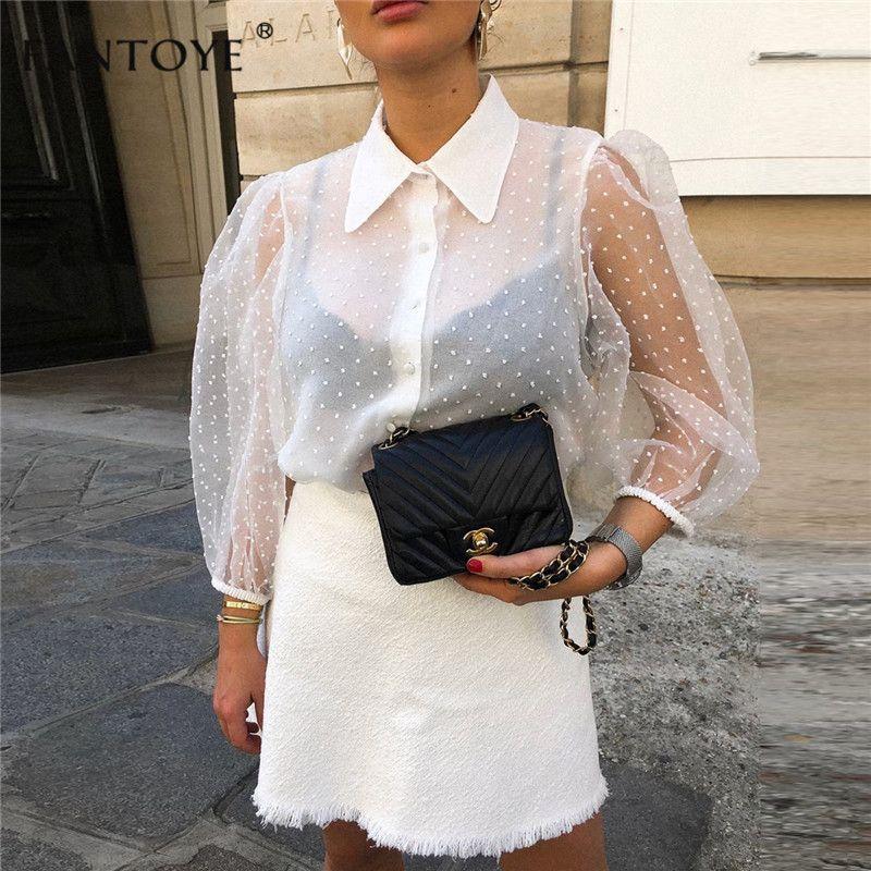 Fantoye 2019 été femmes en mousseline de soie Blouse chemise Sexy Transparent maille perles manches bouffantes femme bureau chemises dame Blusa tenues