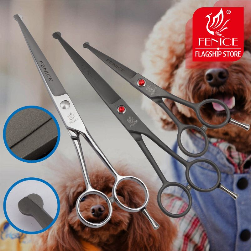 High Quality Stainless Steel 4.5 7.0 inch Pet Dog Grooming Tools Cutting Small Fenice Scissors with Safety Round Tips Top Shears