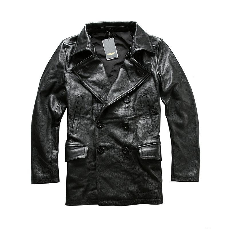 Read Description! Asian size excellent cow leather winter jacket men's classic cowhide leather pea coat A1657