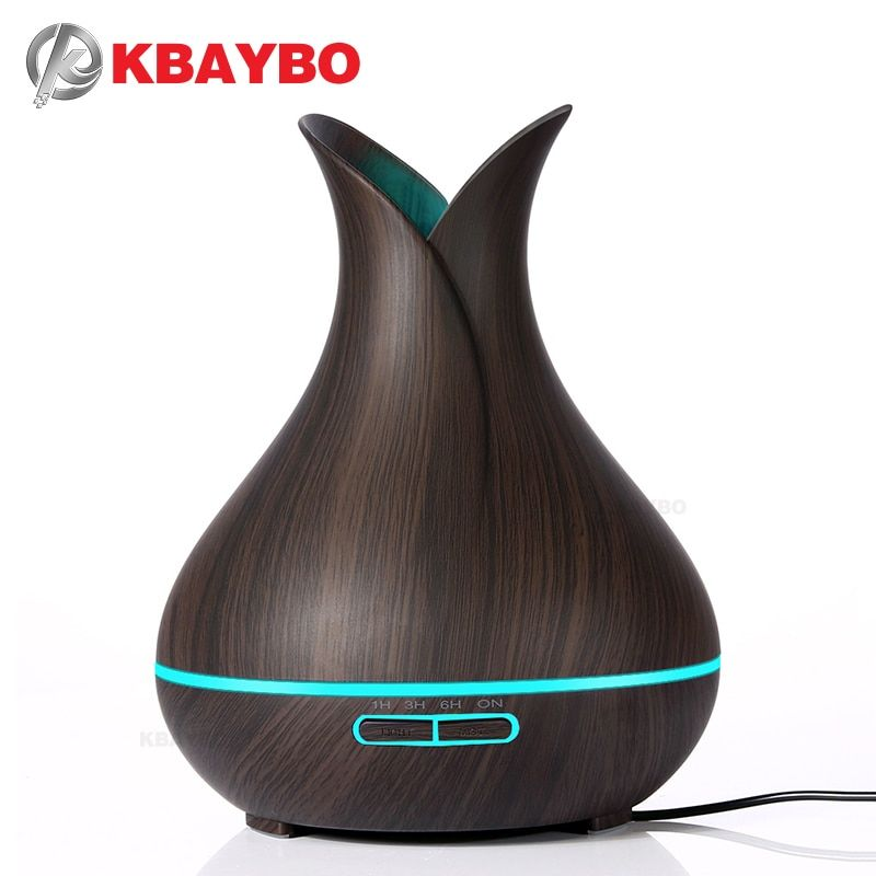 KBAYBO 400ml electric Aroma Essential Oil Diffuser Ultrasonic Air Humidifier Wood Grain Cool Mist maker LED Night Light for home