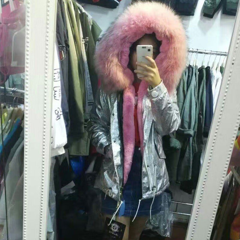 Nice pink fur coats winter leather jacket silver coat women outerwear raccoon fur hooded Short/Long parka