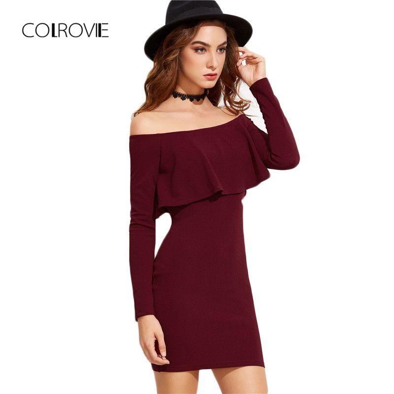 COLROVIE Long Sleeve <font><b>Mini</b></font> Dress Womens Autumn Winter Dresses Women Sexy Party Burgundy Off Shoulder Ruffle Bodycon Dress