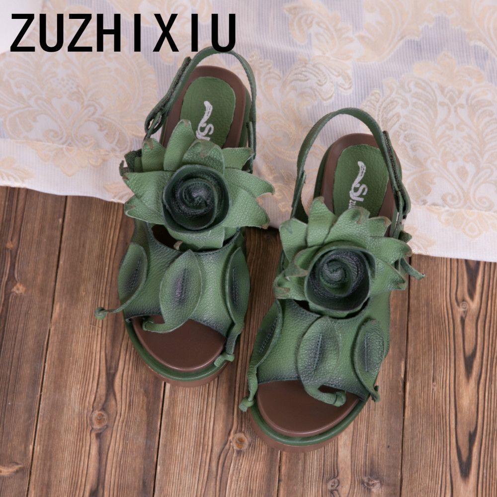 ZUZHIXIU-Heißer, 2019 Sommer neue Koreanische version der nationalen stil aus echtem leder dame sandalen, hohe ferse dicken boden sandalen