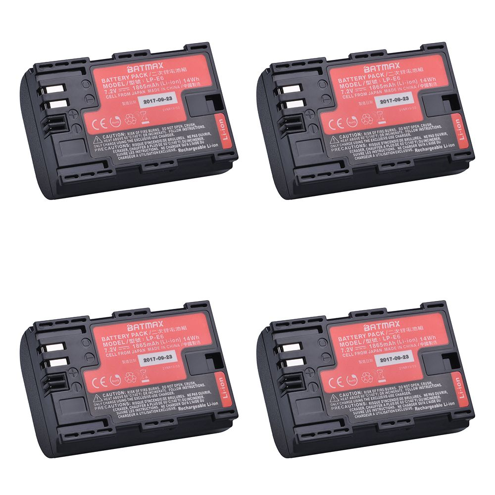 4pcs Japan Cells LP-E6 LP E6 LP-E6N Camera battery for Canon EOS 5D Mark II III 5DS 5DSR 6D 7D 60D 60Da 70D 80D