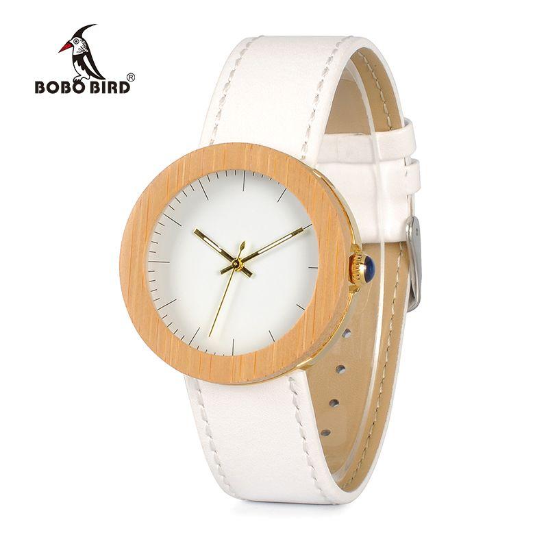 BOBO BIRD WJ27 Brand Women Watch Bamboo Steel Quartz Watch Genuine Leather Band With Wooden Wood Box relojes mujer Accept OEM