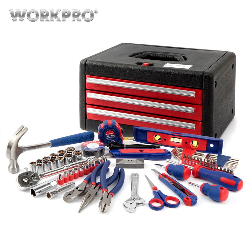 WORKPRO 125PC Hand Tools Set Box Home Tools Household Tool Case General Tool Kits