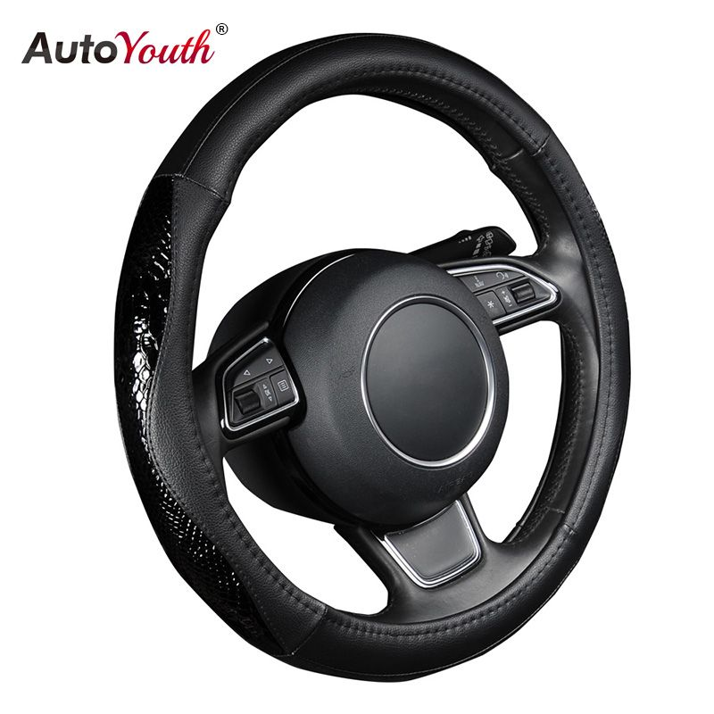 AUTOYOUTH PU Leather Steering Wheel Cover Black Lychee Pattern with Fashion Serpentine Leather M size fits 38cm/15 Diameter