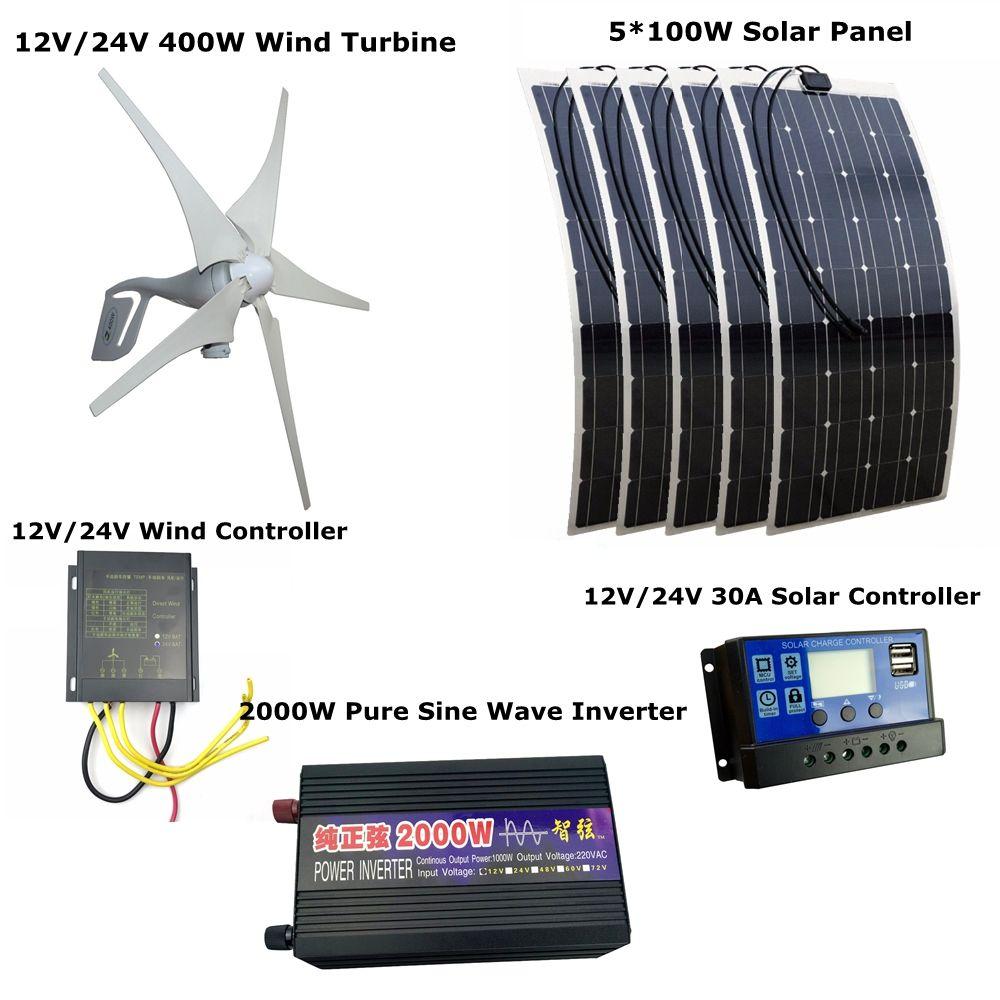 400W 12V/24V Wind Turbines Generator +Wind Controller+5*100W Solar Panel++30A Solar Controller +2000W Pure Sine Wave Inverter