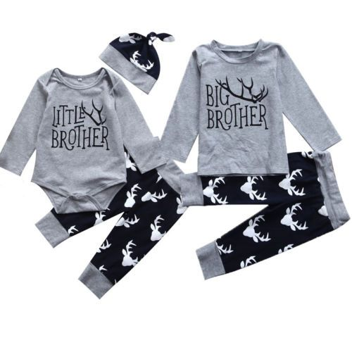 Family Matching Clothes Big Brother T-shirt Little Brother Romper+ Pants Outfits Set