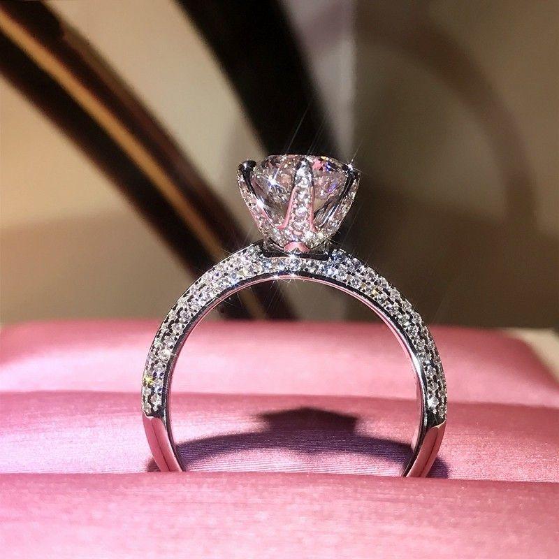 Marke Neue Solitaire Luxus Schmuck Reine 100% 925 Sterling Silber runde Form 5A Zirkonia CZ Zweireihig Frauen Hochzeit Band Ring