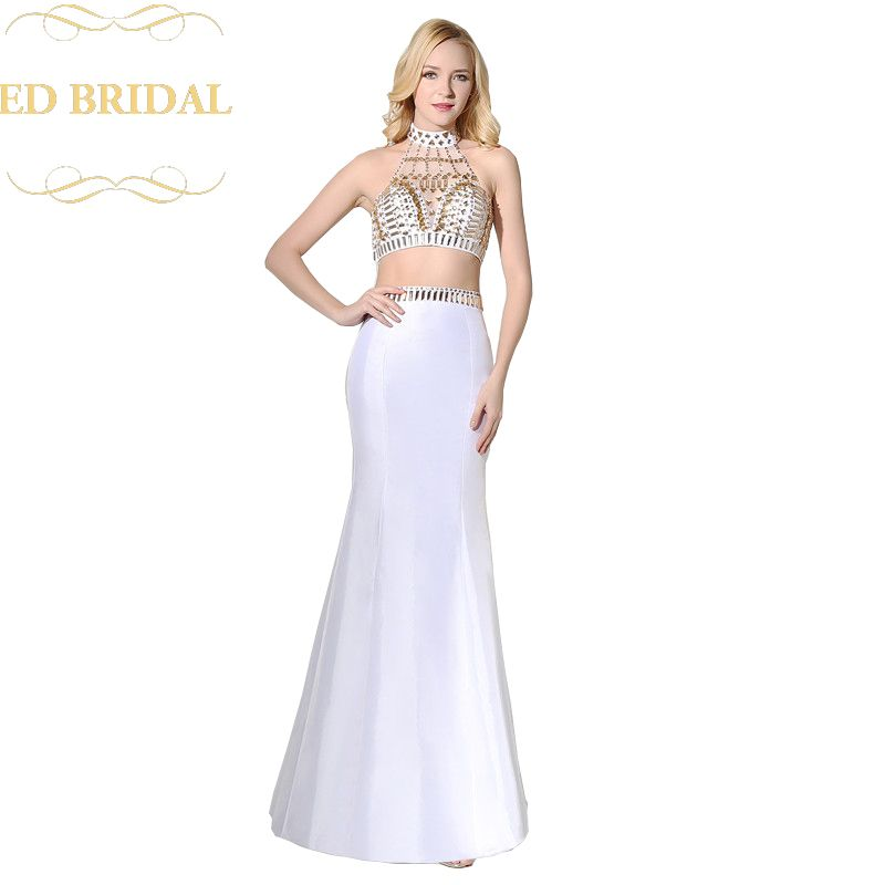 Sexy Halter High Neck Two Piece Prom Dress Crystal Beaded Crop Top Prom Dresses Long Formal Evening Gown abendkleider