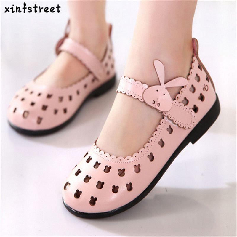 Лидер продаж обувь для детей для Обувь для девочек 2017 бренд вырезами детей Обувь принцессы Милые Rubbit дышащая обувь для девочек Размеры 21-36