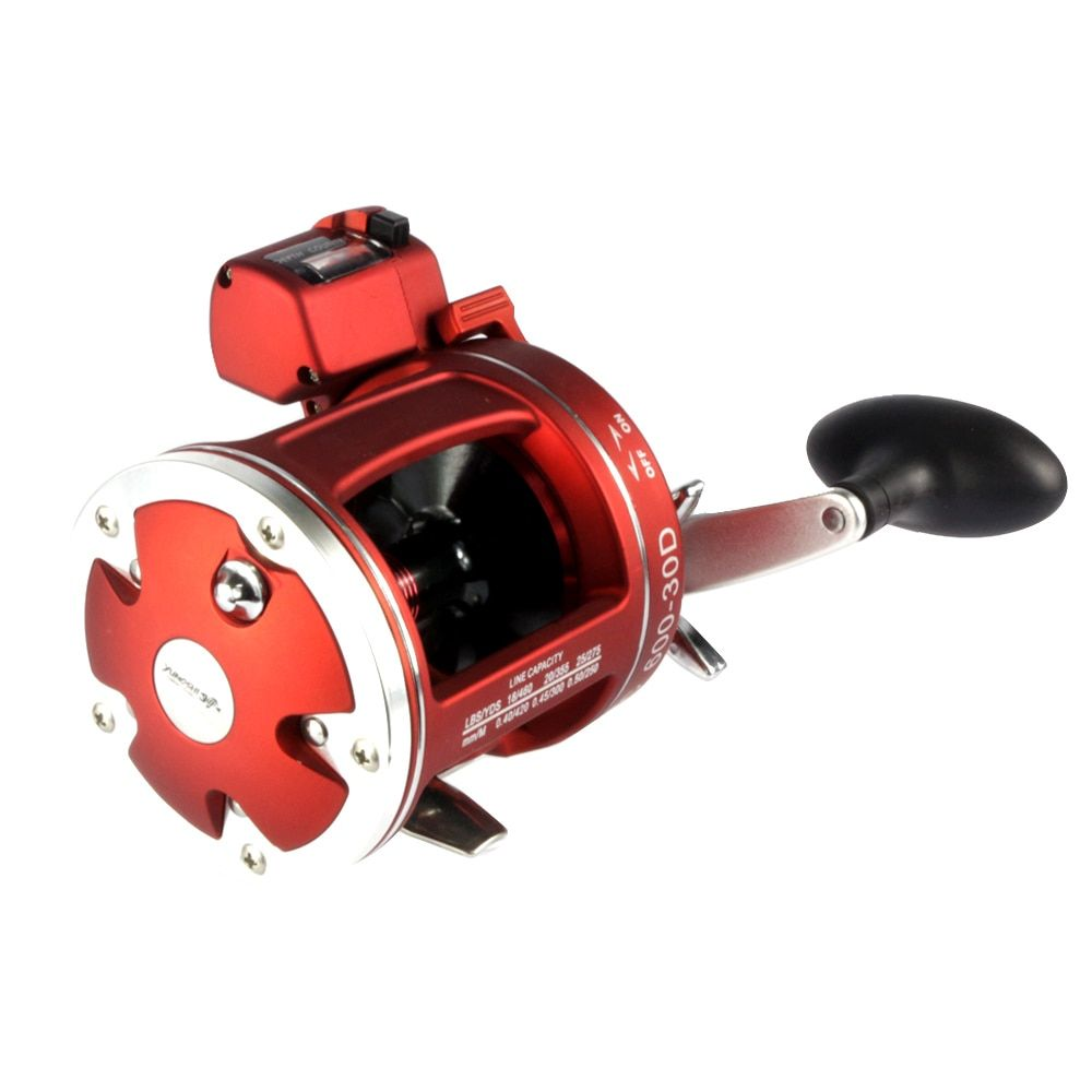 Full metal  Red Right  Hand Bait Casting Fishing Reel with counter 12BB High-strength body  cast drum wheel