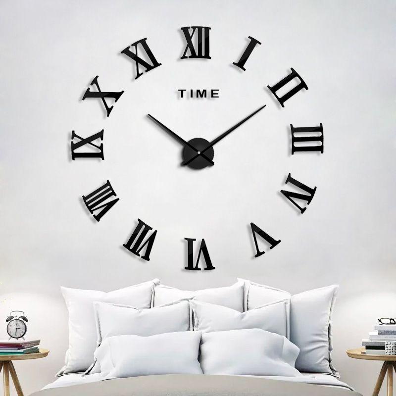 2017 New HomeDecoration Wall Clock Big Mirror Wall Clock <font><b>Modern</b></font> Design Large Size Wall Clocks DIY Wall Sticker Unique Gift 130