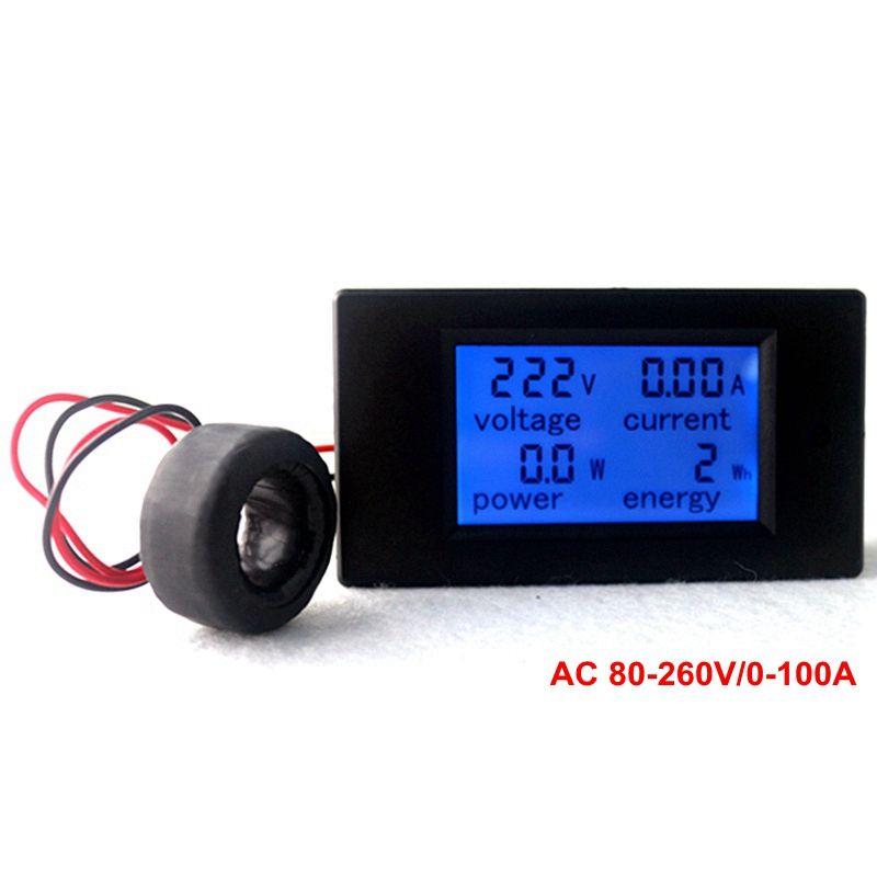 AC Multifunction Voltmeter Meter Energy Power Monitor AC 80-260/100A <font><b>Volt</b></font> Amp power tester Voltmeter Ammeter Current Transformer