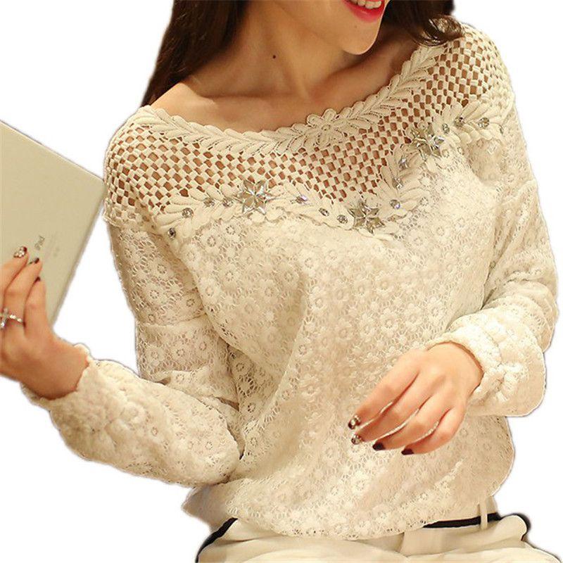 M-6XL ZANZEA Для женщин белая кружевная блузка 2018 лето-осень blusas femininas с длинным рукавом полые Цветочный Рубашки для мальчиков Повседневное плюс ...