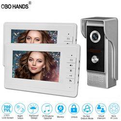 Wired Home 7'' TFT LCD Video Intercom Doorbell System Monitor Video Door Phone IR COMS Outdoor Camera 700TVL White Screen Metal