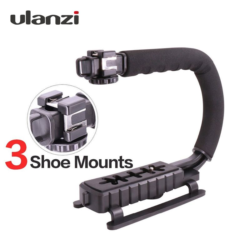 Ulanzi U-<font><b>Grip</b></font> Triple Shoe Mount Video Stabilizer Handle Video <font><b>Grip</b></font> 1/4-20 for Nikon Canon Camera filmmaking,for iPhone 7 plus
