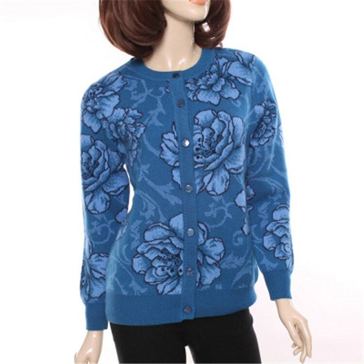 big size 100%goat cashmere thick knit fashion printed cardigan sweater coat Oneck for mid/old women S-4XL retail wholesale
