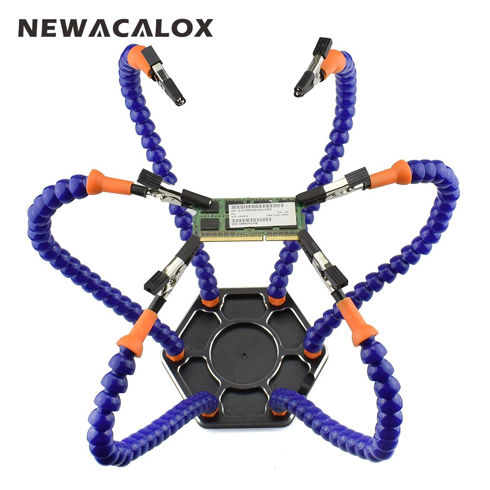 NEWACALOX Multi Soldering Helping Hands Third Hand Tool with 6pcs Flexible Arms For PCB Board Soldering Assembly Repair Station