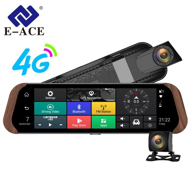 E-ACE Car Dvr Camera 4G Android 5.1 FHD1080P Video Recorder Dash Cam 10 Inch Rearview Mirror GPS Navigator ADAS Auto Registrar