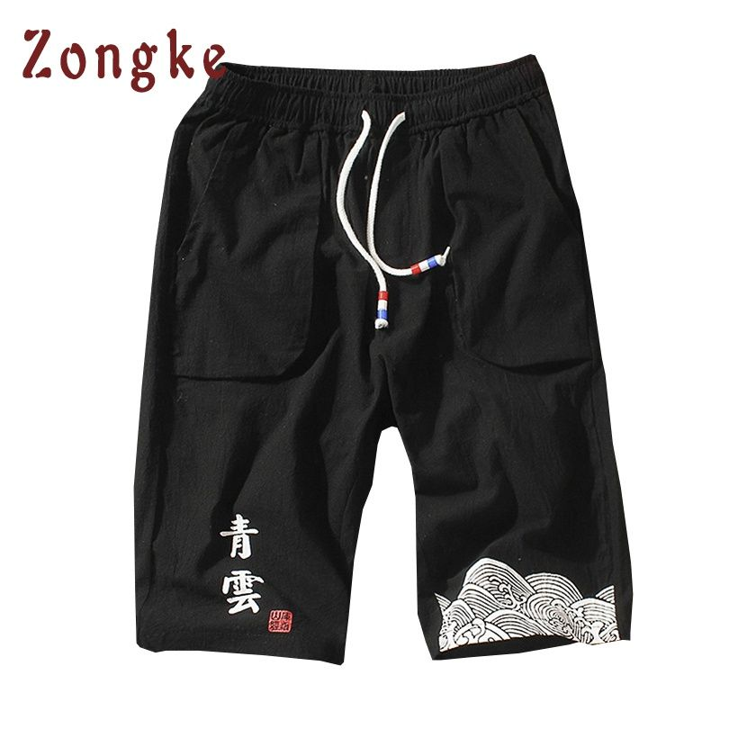 2018 New Chinese Style Mens Casual Shorts Men Bermuda Masculina Summer Cotton Short Masculino Male Shorts Homens