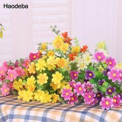 Haodeba seda flores artificiales para la boda decoración del hogar 28 cabezas falso Margarita barato real Touch flor plantas hierba