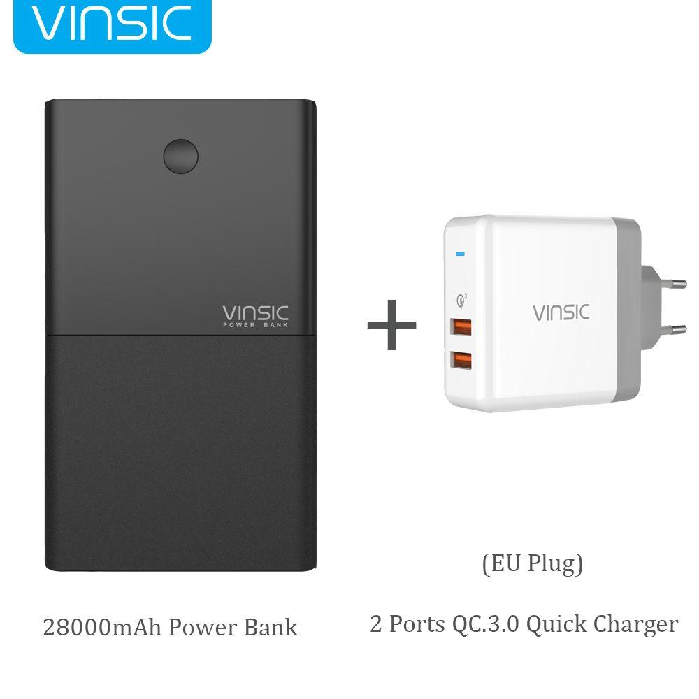 Vinsic 28000mAh Quick Charge QC3.0 Power Bank 5V/9V/12V Dual USB External Battery Pack for iPhone X Samsung S9 Xiaomi Mi8