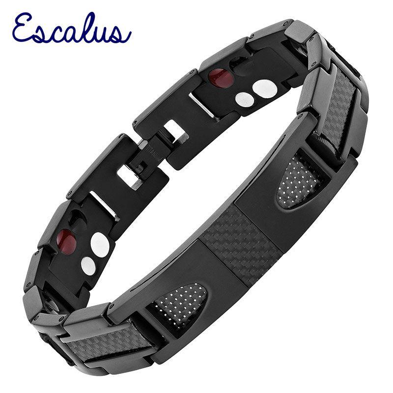 Escalus Magnétique Pur Titane bracelet noir Pour Hommes Carbone fibre Styliste Germanium Charme Nouveau Bracelets Bracelet