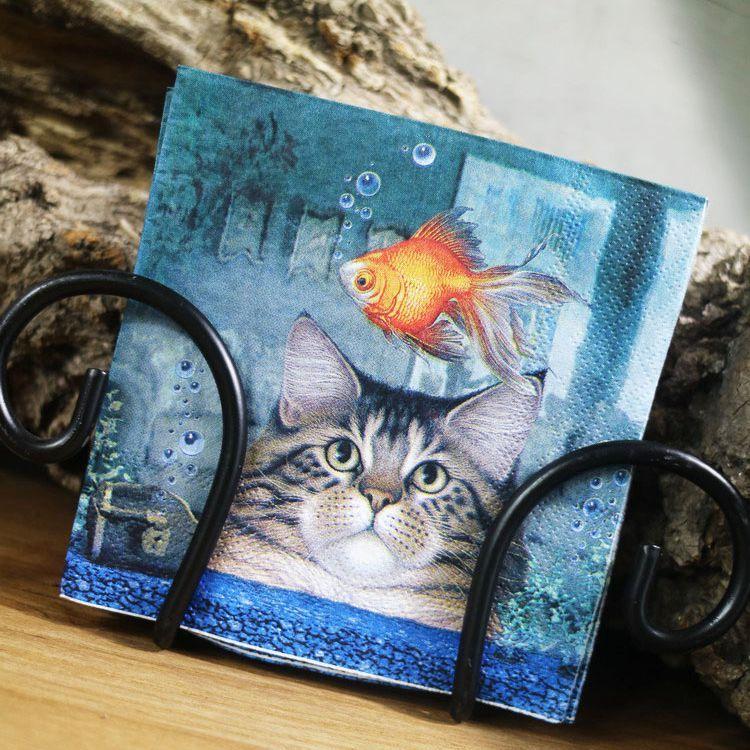 Serviettes Cocktail-chat et poisson rouge papier serviettes 25*25 cm 2-plis vintage animaux serviettes pour decoupage-YL1619
