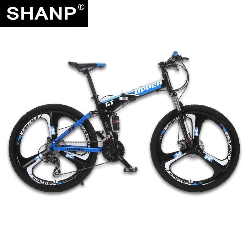 UPPER Mountain Bike Foldable Steel Frame Mechanical Disc Brake 24 Speed Shimano 26 Alloy <font><b>Wheel</b></font> 3 Spokes