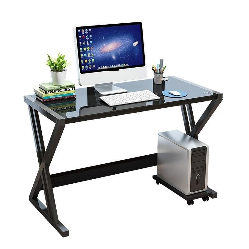 Simple Modern Computer Home Student Bed Laptop Table Tempered Glass Desk
