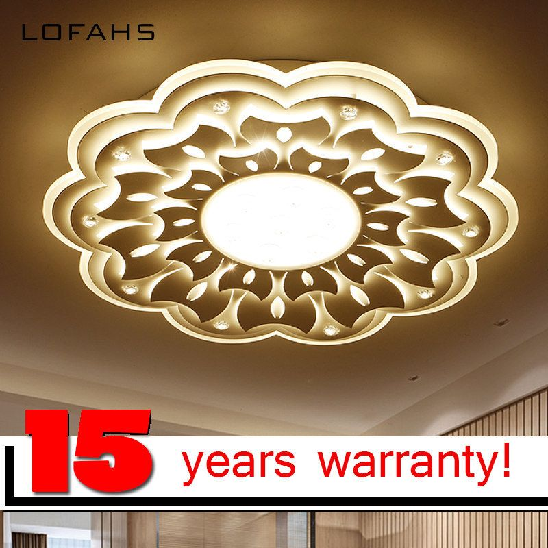 LOFAHS Surface mounted modern led ceiling chandelier lights for living room bedroom White Color chandelier Plexiglass lampshade