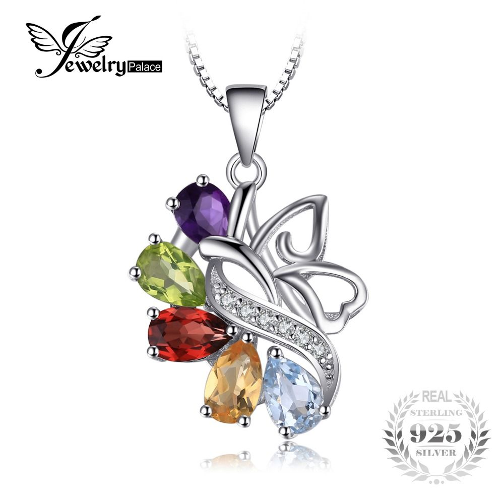 JewelryPalace 2.5ct Genuine Amethyst Garnet Peridot Citrine Topaz Pure Solid 925 Sterling Sliver Pendant Not Include The Chain