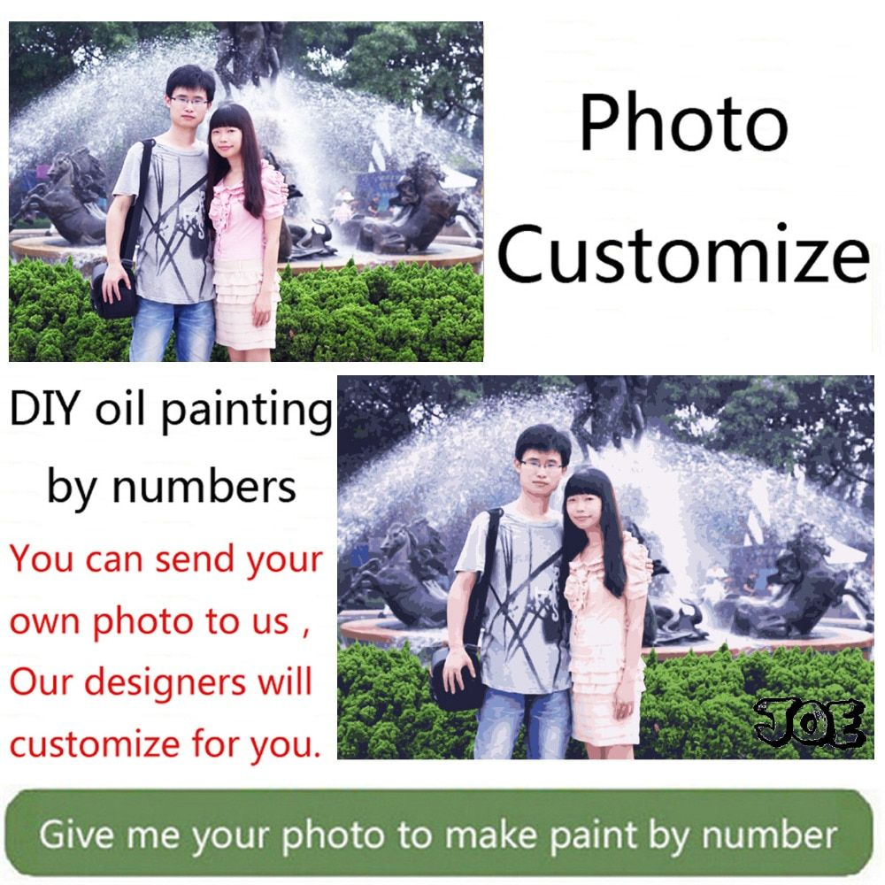 Cool ! Photo customized digital oil painting custom DIY oil painting by numbers drawing canvas <font><b>portrait</b></font> wedding family photos