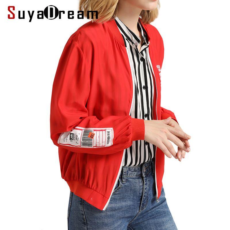 Women Silk Jacket 100%Silk Zipped Outer coat Fashion Casual Red jackets 2017 Fall Jaqueta feminina New