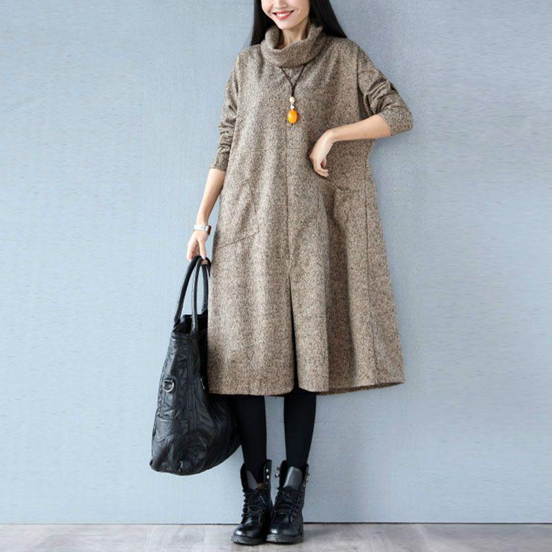 Women <font><b>Autumn</b></font> Winter Dress Solid Casual Fashion Turtleneck Cashmere Loose Lady Big Size Female Long Sleeve Plus Size New Dresses