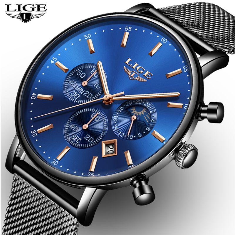 2019 LIGE Mens Watches Top Brand Luxury Quartz Clock Ultra Thin Fashion Moon Phase Watch Waterproof Women Dress Watch Saat Bayan