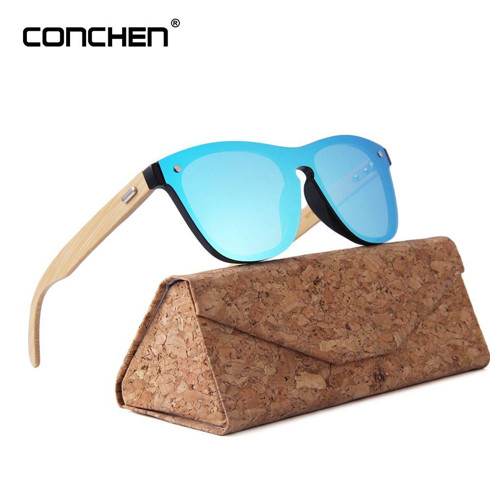 CONCHEN En Bois lunettes de Soleil Pour Les Femmes Marque De Mode Designer UV400 Miroir Lentilles Bambou lunettes de Soleil Pour Hommes 2018 Nouvelle Arrivée