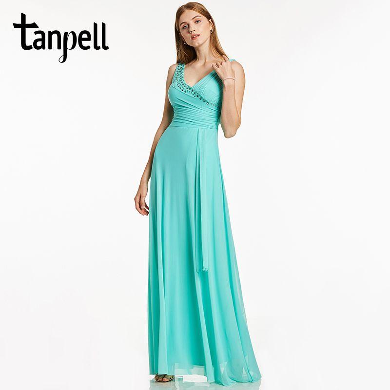 Tanpell V cuello largo vestido de noche de menta con cuentas plisados sin mangas una línea de longitud del piso cremallera vestido de noche formal barato vestidos