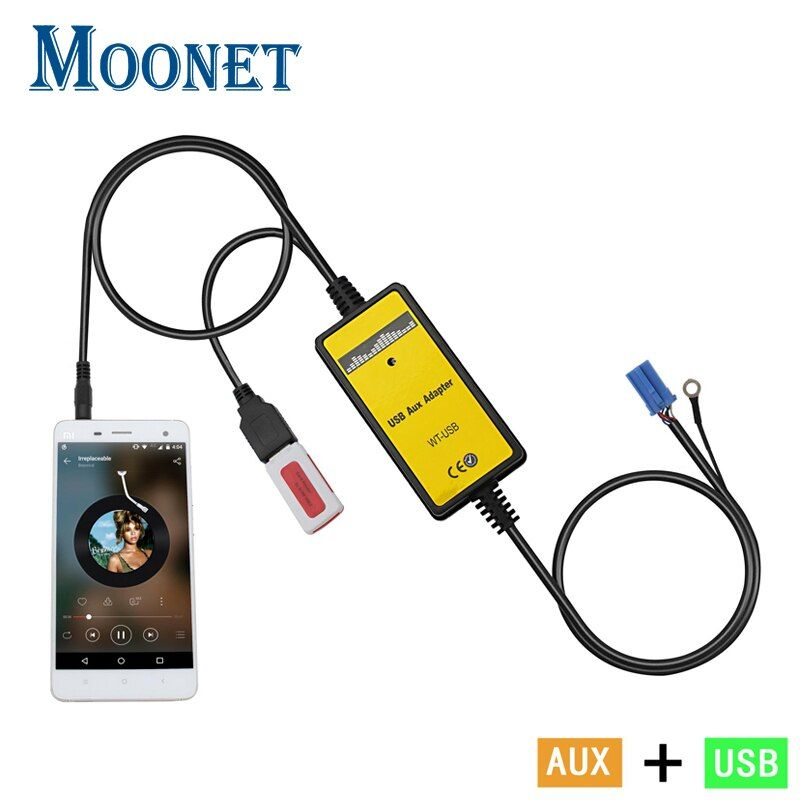 Moonet Car Audio USB AUX Adapter MP3 3.5mm Interface CD Changer For Volkswagen Skoda Golf Passat Spuerb Octavia 8pin QX010