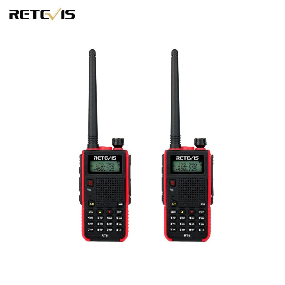 2X Retevis RT5 Walkie Talkie Transceiver 1800mAh 128CH Dual Band UHF VHF136-174/400-520MHz Portable Two Way Radio A9108A