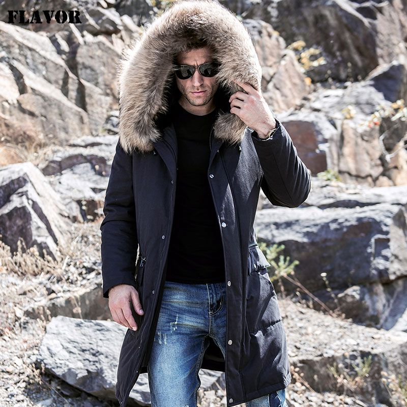 FLAVOR Men's Real Fur Parka with Removable Rex Rabbit Fur Liner Raccoon Fur Hood Men Winter Long Warm Down Coat Black