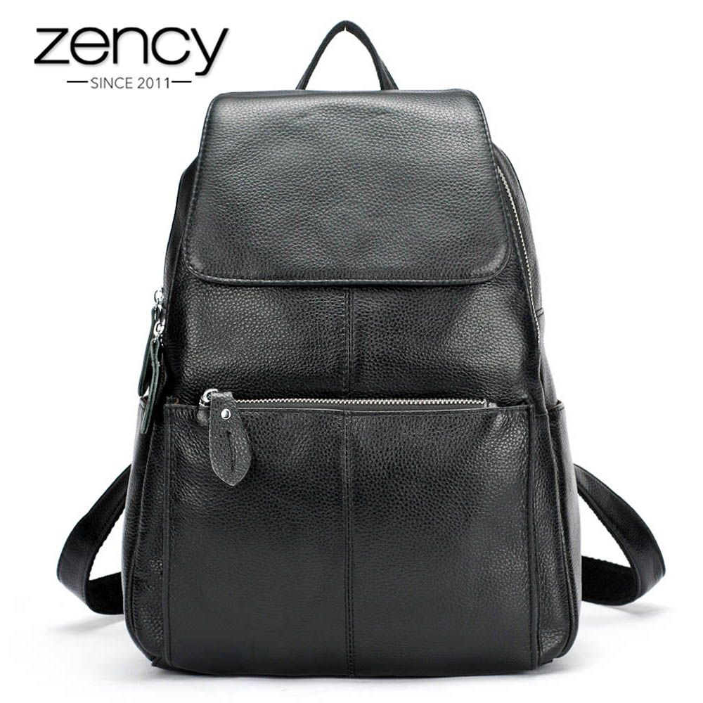 Zency Fashion Color 100% Genuine Leather Casual Women's Backpacks Casual Travel Knapsack <font><b>Laptop</b></font> Bag Ladies Pocket Girl Schoolbag